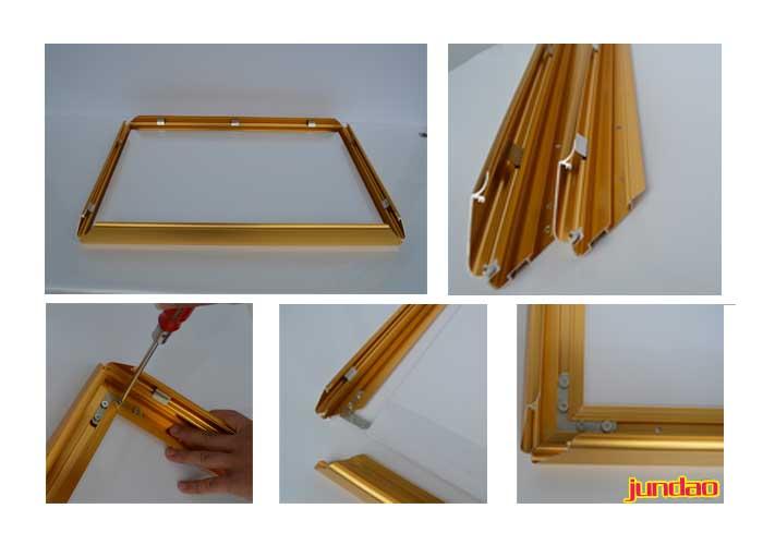 0cm金色开启式广告框-开启式广告框-铝合金展板边框